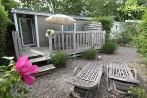 Location de mobil home avec terrasse au Camping La Baie de Somme au Crotoy