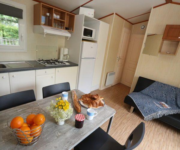 Intérieur mobil home en location au camping La Baie de Somme au Crotoy