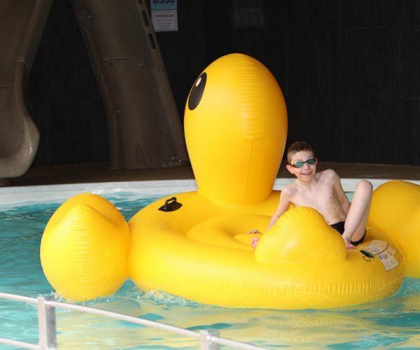 Jeu dans la piscine du camping La Baie de Somme au Crotoy